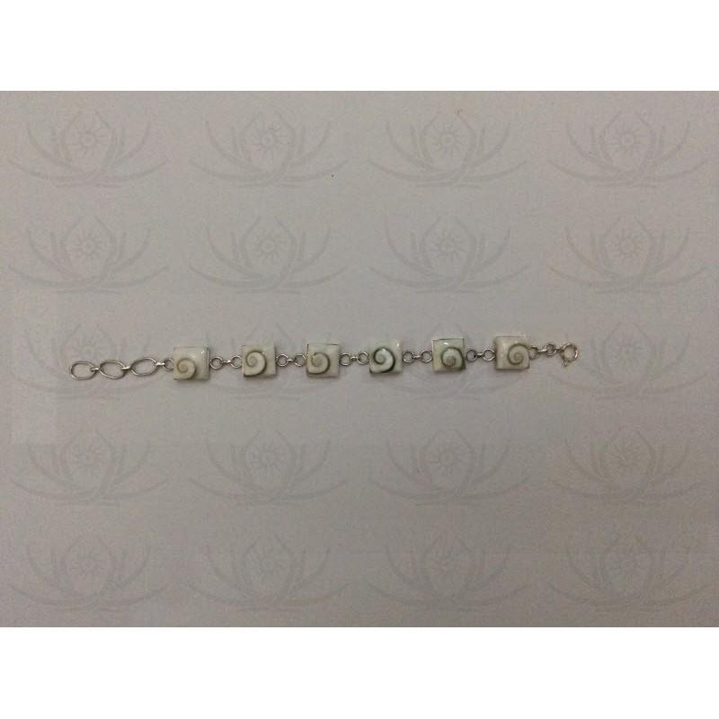 SB 0006 Bracelet Shiva Eye Shell Silver