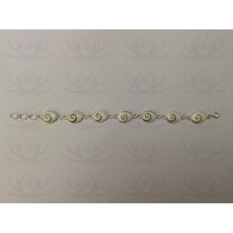 SB 0030 Bracelet Shiva Eye Shell Silver