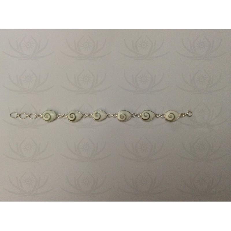 SB 0031 Bracelet Shiva Eye Shell Silver