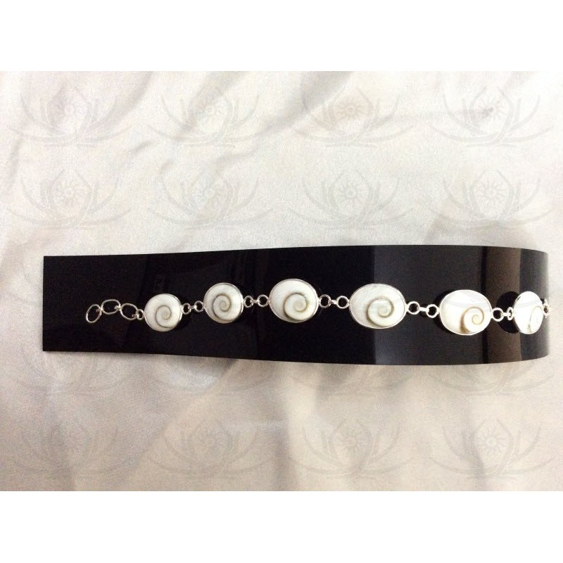 SB 0044 Bracelet Shiva Eye Shell Silver