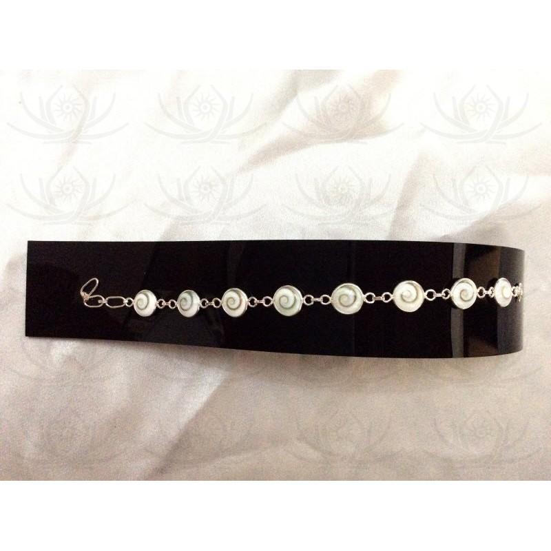 SB 0114 Bracelet Shiva Eye Shell Silver
