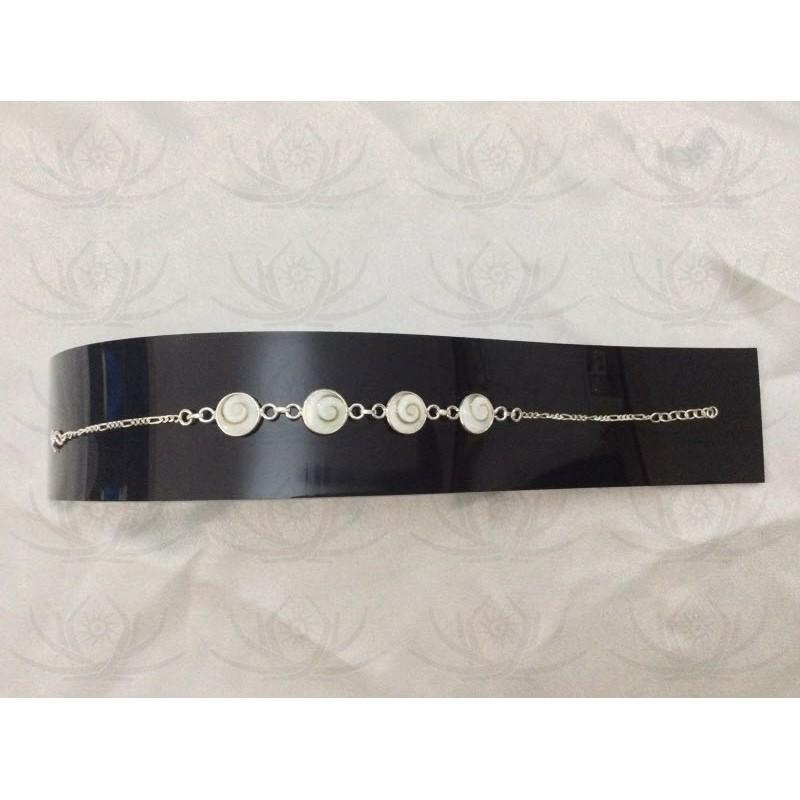 SB 0128 Bracelet Shiva Eye Shell Silver