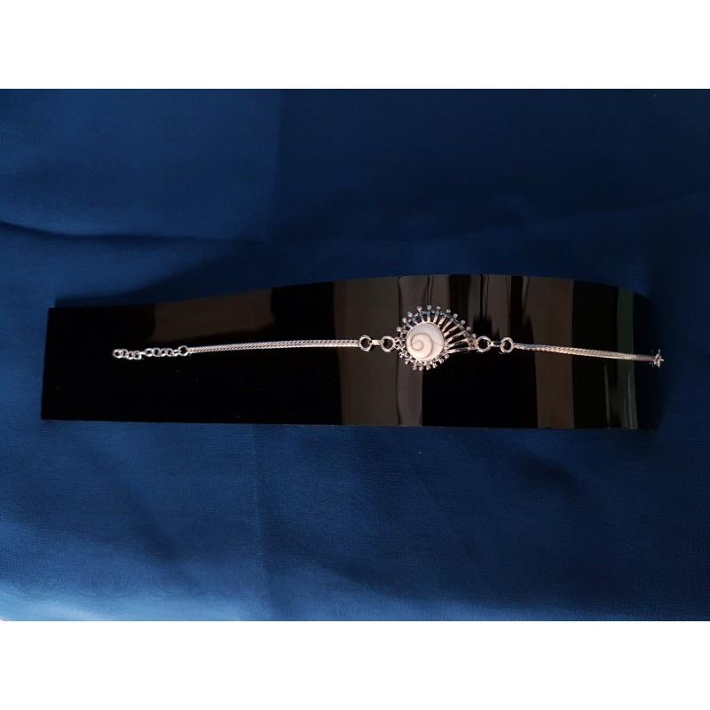 SB 0150 Bracelet Shiva Eye Shell Silver