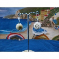 LE 0017 Earrings Shiva Eye Shell Silver