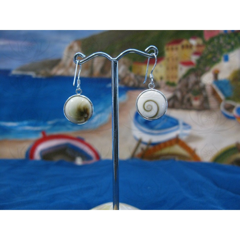LE 0017 Earrings Shiva Eye Shell Silver