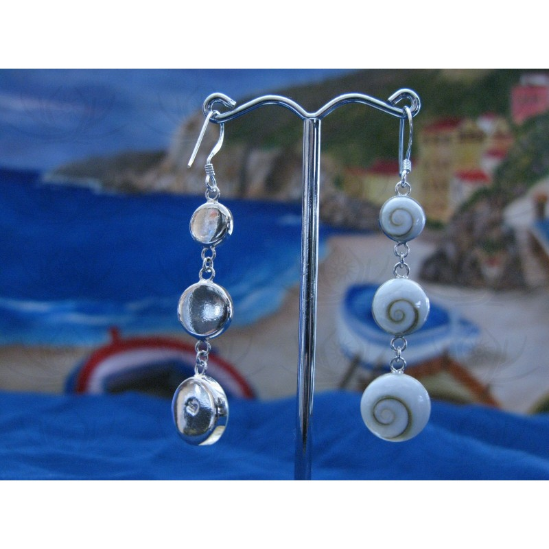LE 0018 Earrings Shiva Eye Shell Silver