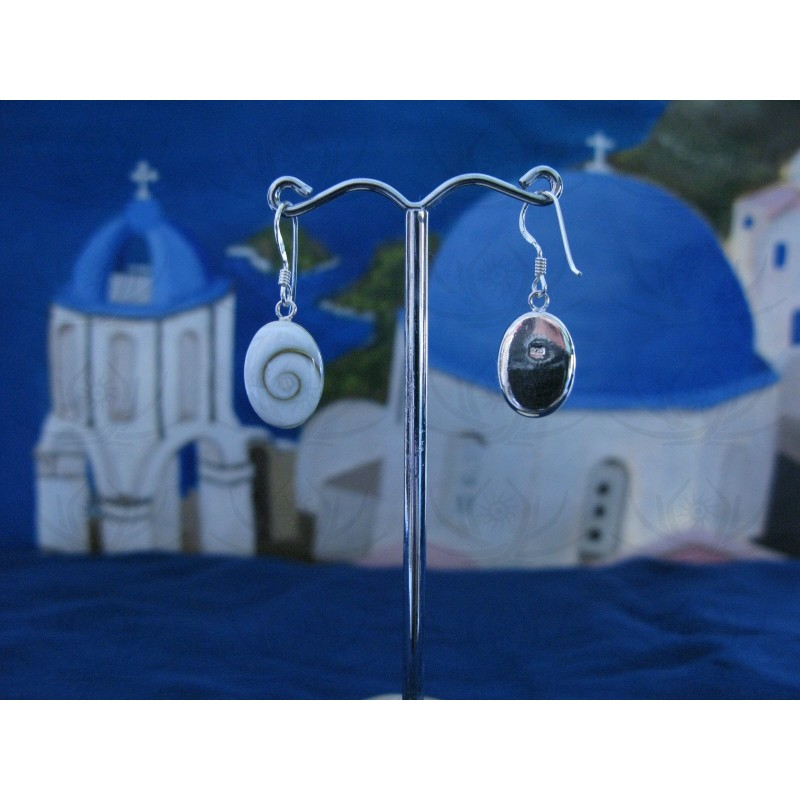 LE 0021o Earrings Shiva Eye Shell Silver