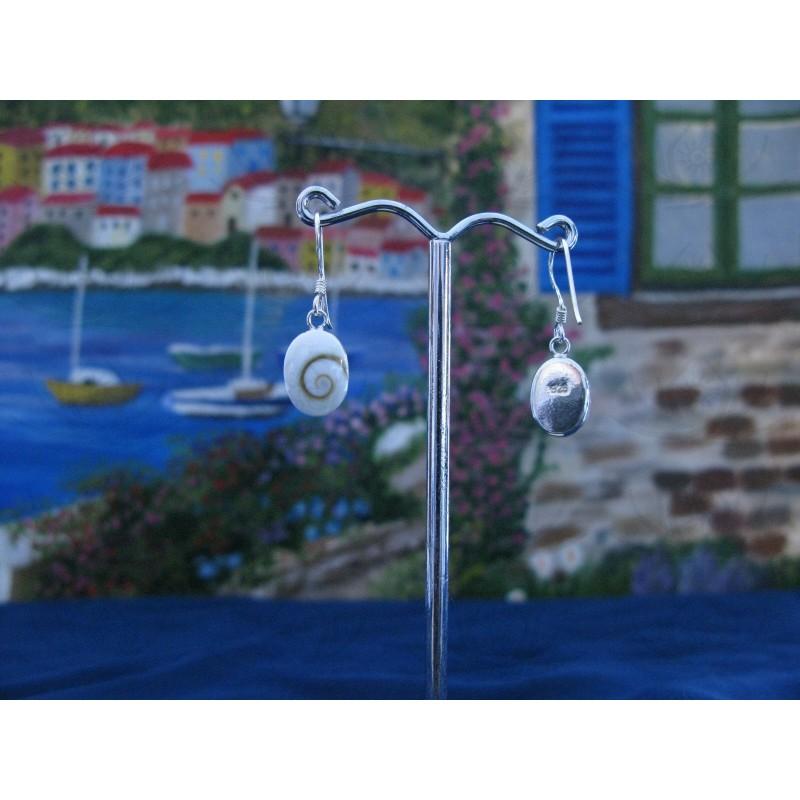 LE 0022 Earrings Shiva Eye Shell Silver