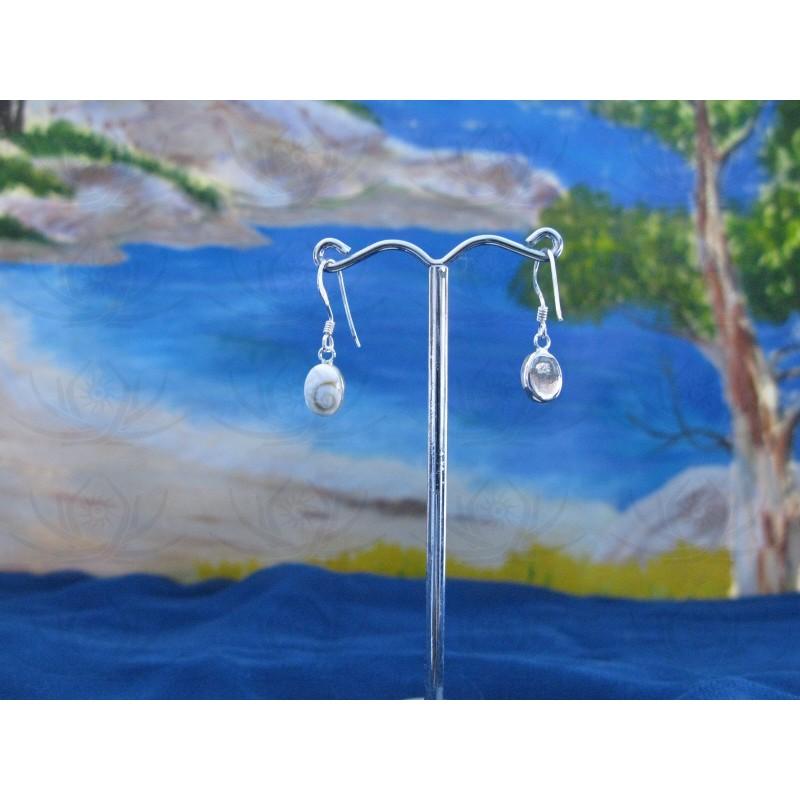 LE 0023o Earrings Shiva Eye Shell Silver