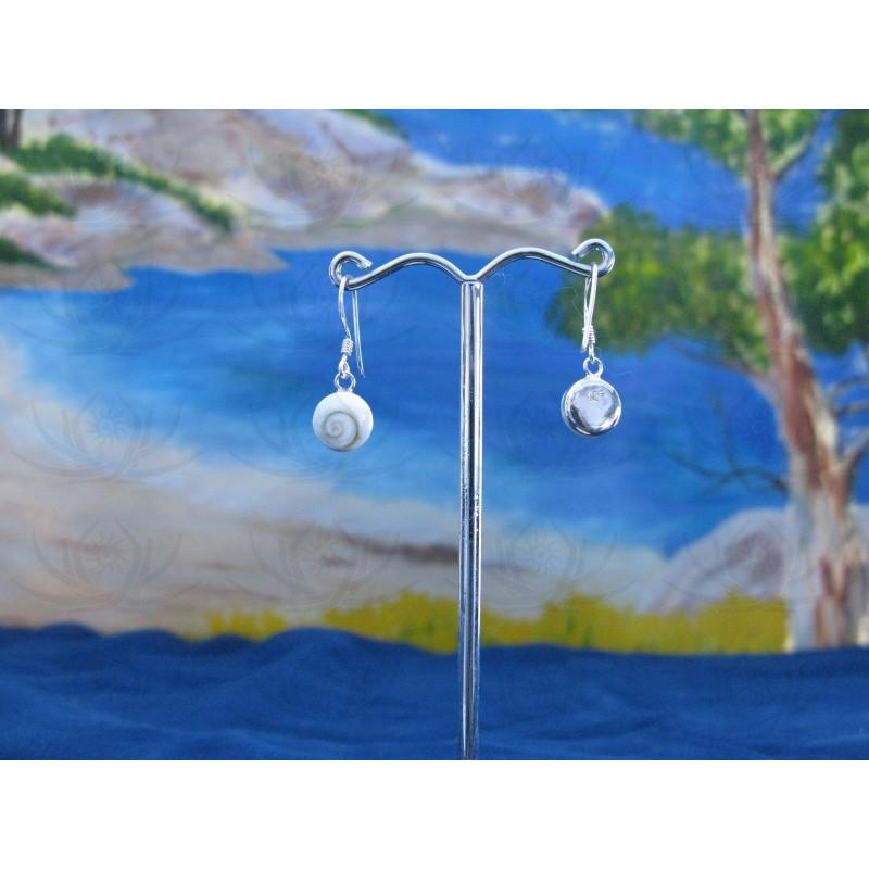 LE 0023r Earrings Shiva Eye Shell Silver