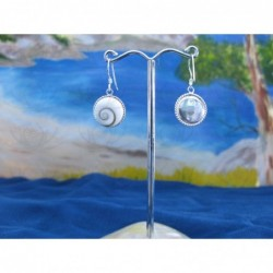 LE 0026 Earrings Shiva Eye Shell Silver