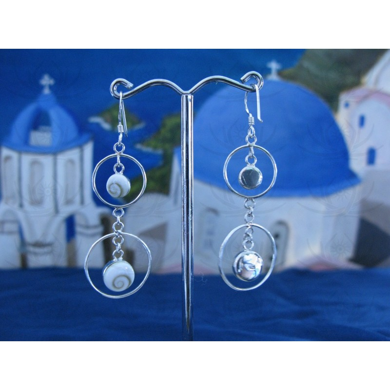 LE 0031 Earrings Shiva Eye Shell Silver