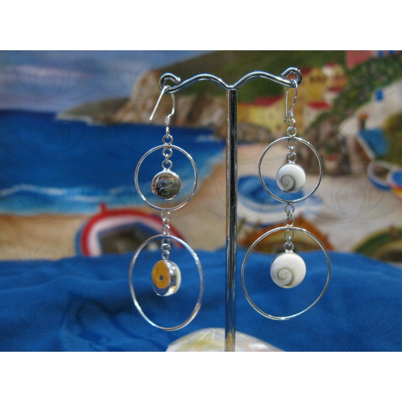 LE 0032 Earrings Shiva Eye Shell Silver