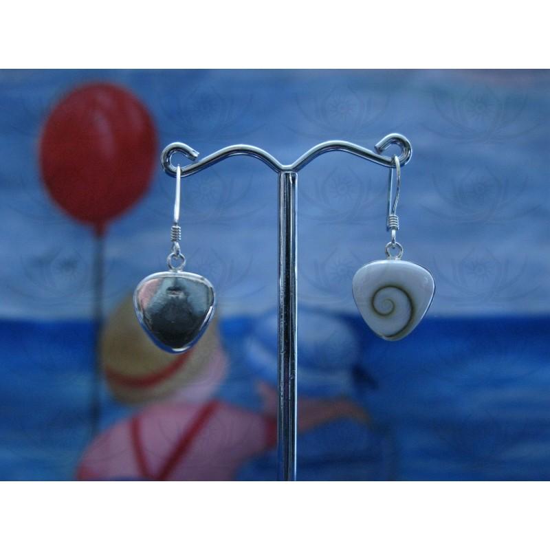 LE 0041 Earrings Shiva Eye Shell Silver