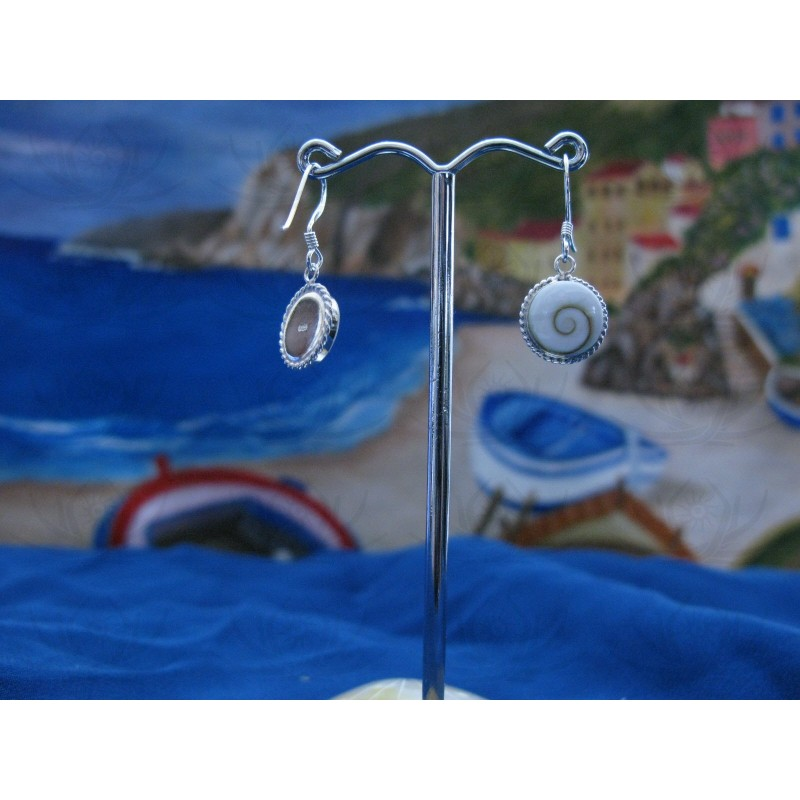LE 0043 Earrings Shiva Eye Shell Silver