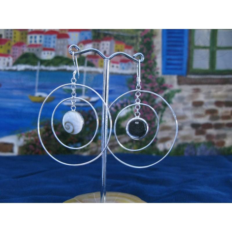 LE 0051 Earrings Shiva Eye Shell Silver