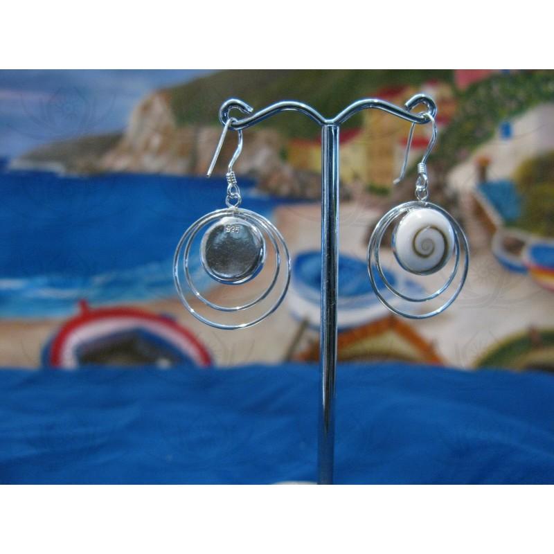 LE 0054 Earrings Shiva Eye Shell Silver