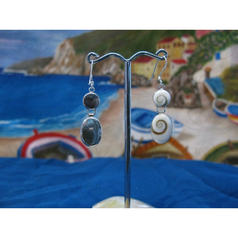 LE 0056 Earrings Shiva Eye Shell Silver