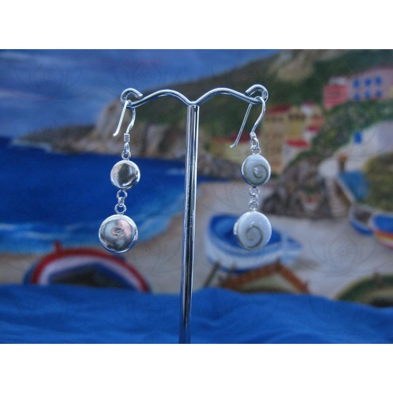 LE 0062 Earrings Shiva Eye Shell Silver