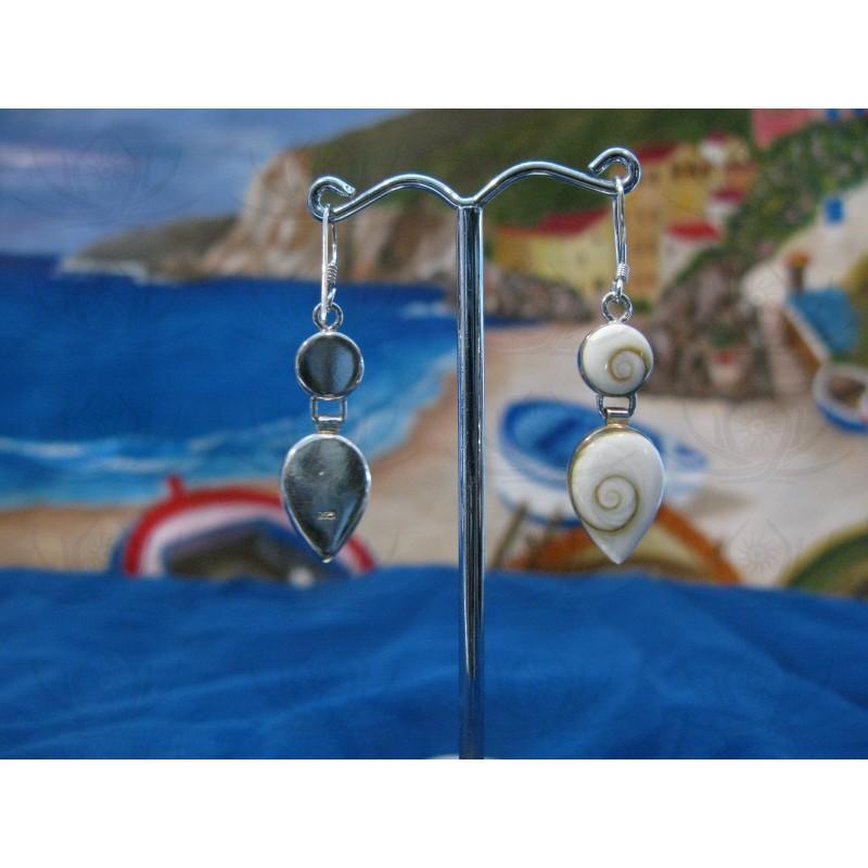 LE 0068 Earrings Shiva Eye Shell Silver