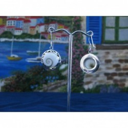 LE 0069 Earrings Shiva Eye Shell Silver