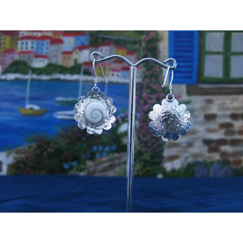 LE 0071 Earrings Shiva Eye Shell Silver