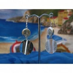 LE 0076 Earrings Shiva Eye Shell Silver