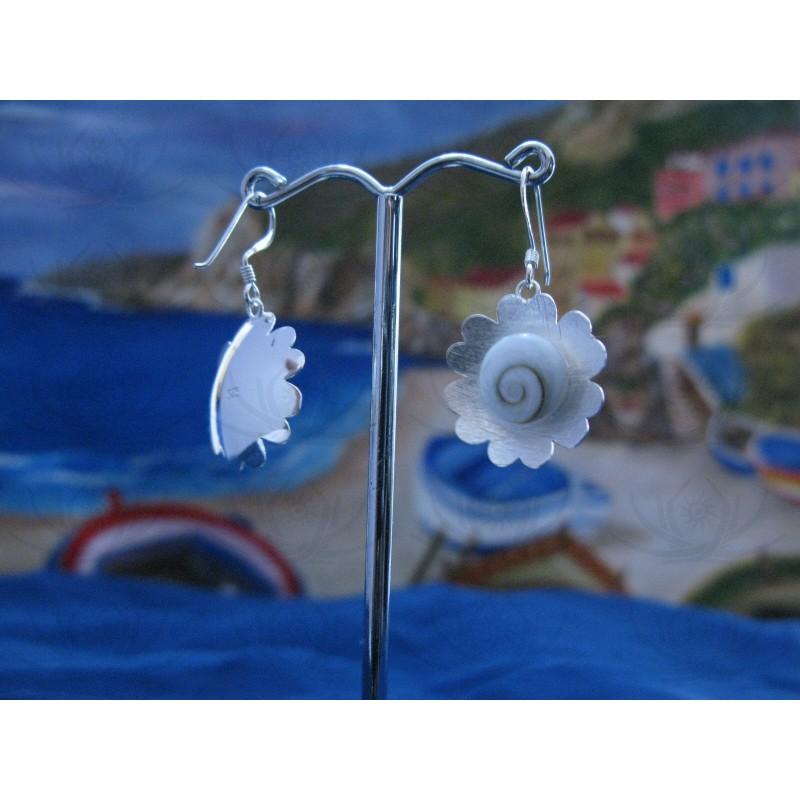 LE 0077 Earrings Shiva Eye Shell Silver