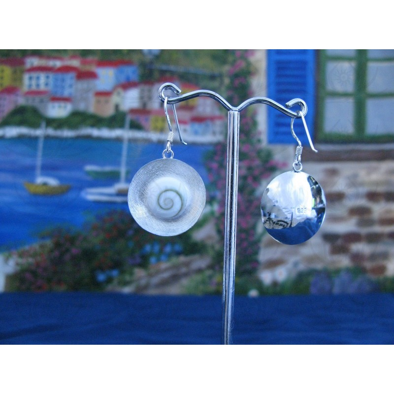 LE 0079 Earrings Shiva Eye Shell Silver