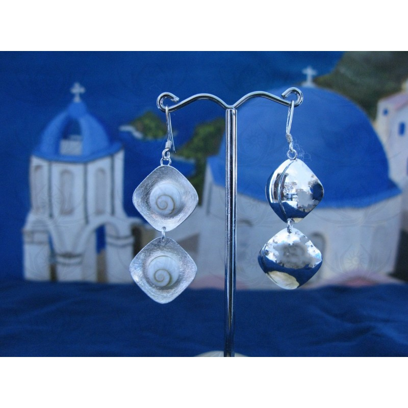 LE 0081 Earrings Shiva Eye Shell Silver