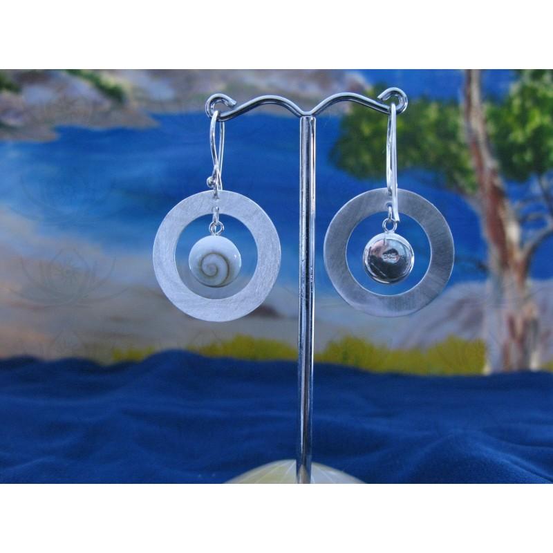 LE 0082 Earrings Shiva Eye Shell Silver
