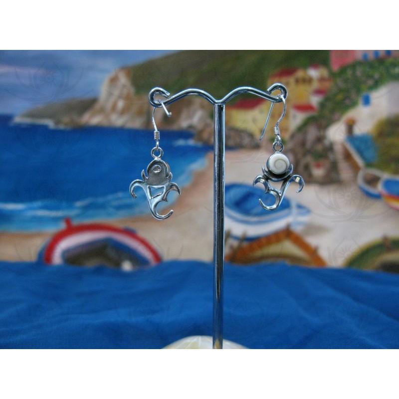 LE 0084 Earrings Shiva Eye Shell Silver