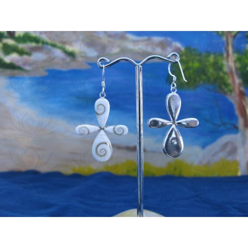 LE 0087 Earrings Shiva Eye Shell Silver