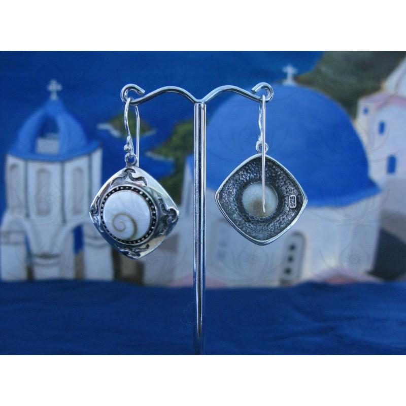LE 0090 Earrings Shiva Eye Shell Silver