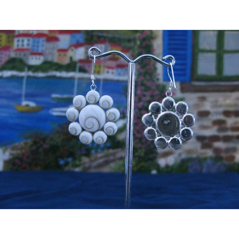 LE 0091 Earrings Shiva Eye Shell Silver