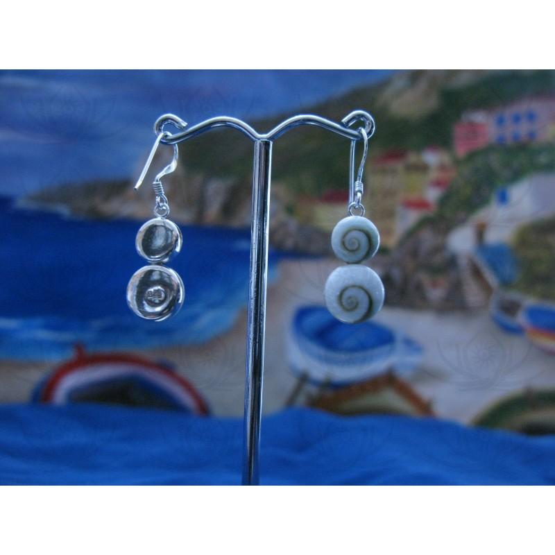 LE 0097 Earrings Shiva Eye Shell Silver