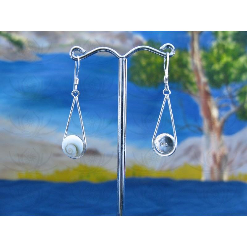 LE 0099 Earrings Shiva Eye Shell Silver