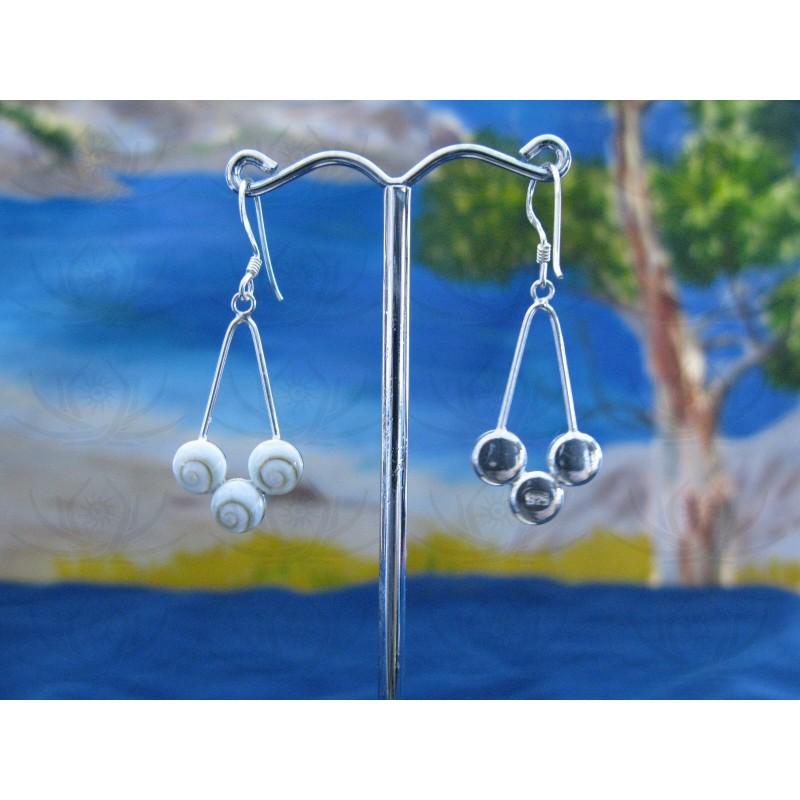 LE 0103 Earrings Shiva Eye Shell Silver