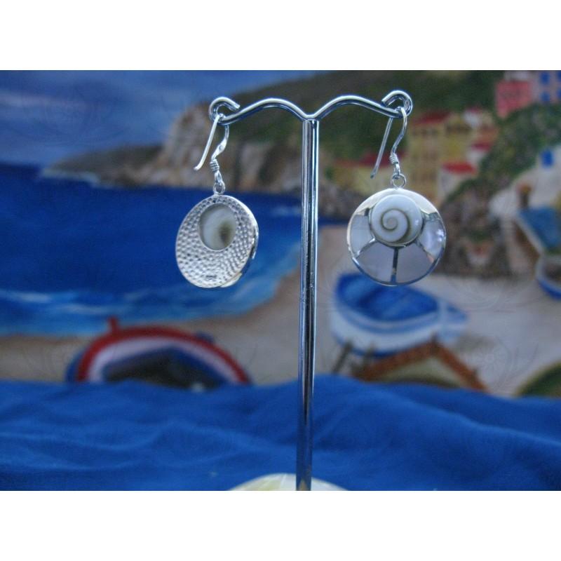 LE 0104 Earrings Shiva Eye Shell Silver