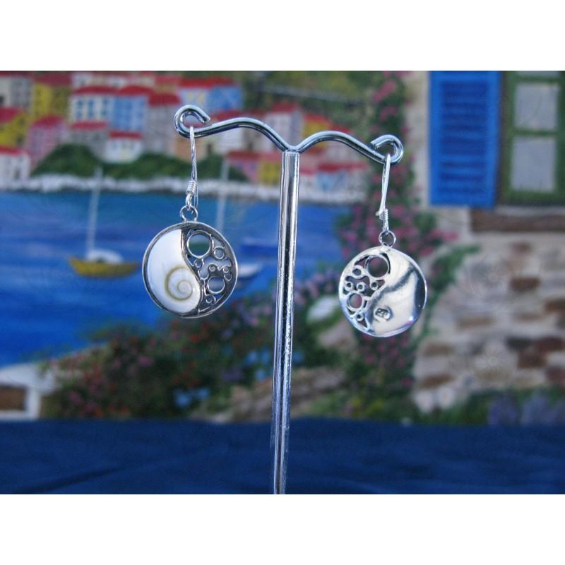 LE 0108 Earrings Shiva Eye Shell Silver