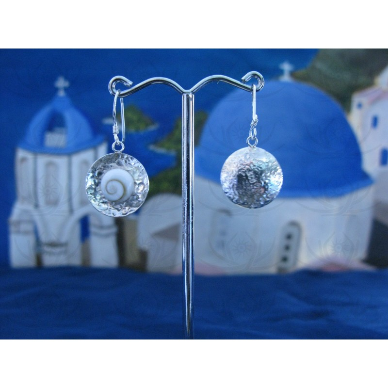 LE 0109 Earrings Shiva Eye Shell Silver