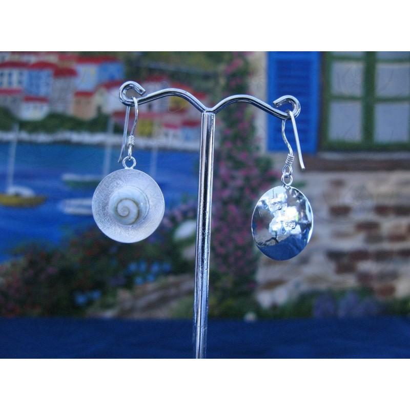 LE 0111 Earrings Shiva Eye Shell Silver