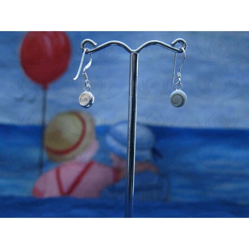 LE 0124 Earrings Shiva Eye Shell Silver