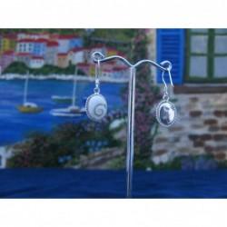 LE 0126 Earrings Shiva Eye Shell Silver