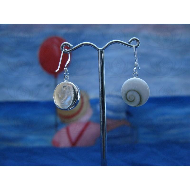 LE 0142 Earrings Shiva Eye Shell Silver