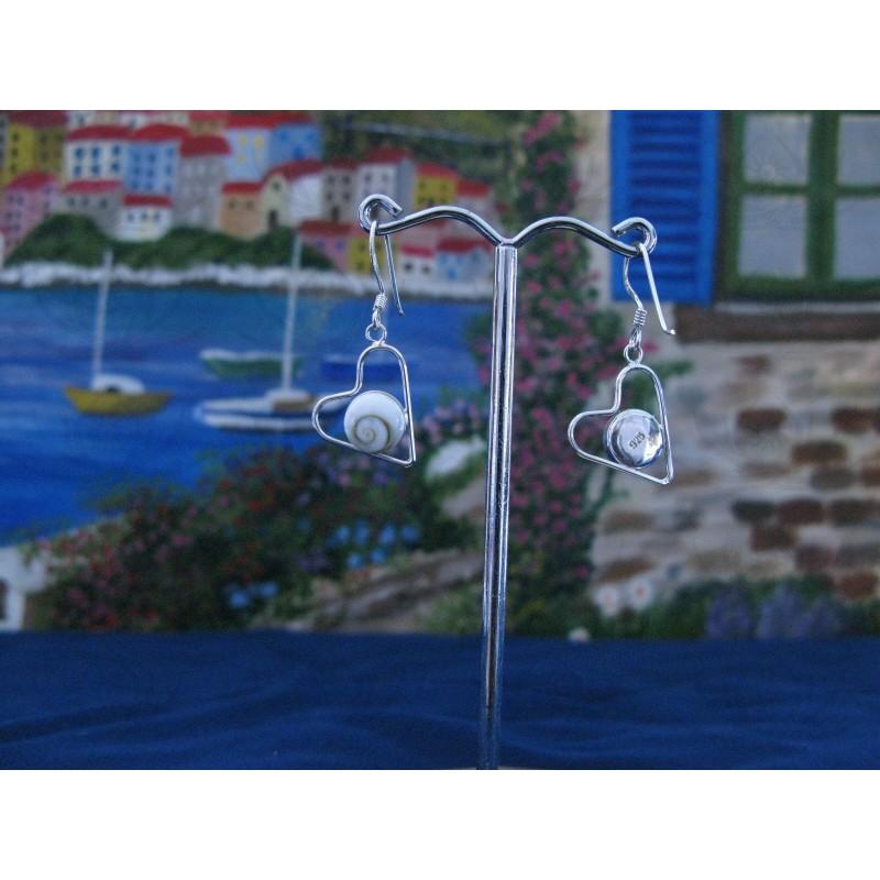 LE 0156 Earrings Shiva Eye Shell Silver