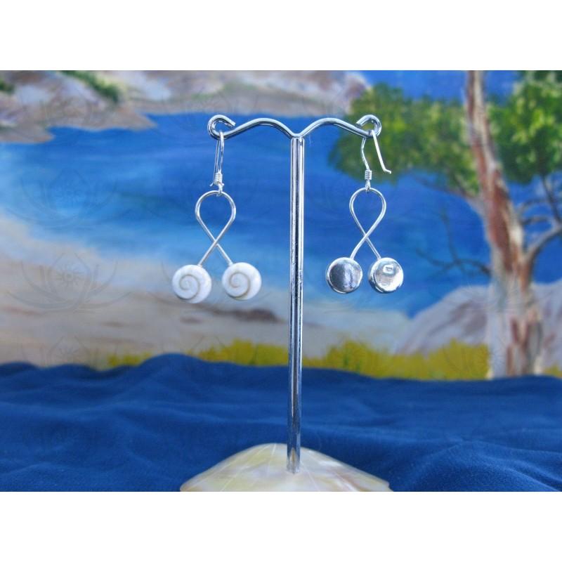 LE 0157 Earrings Shiva Eye Shell Silver
