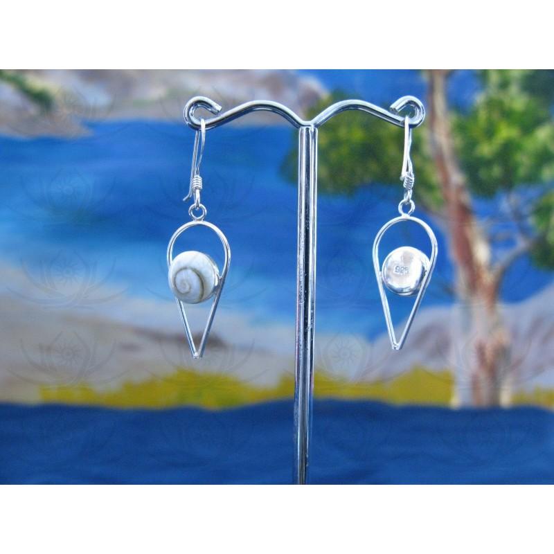 LE 0158 Earrings Shiva Eye Shell Silver