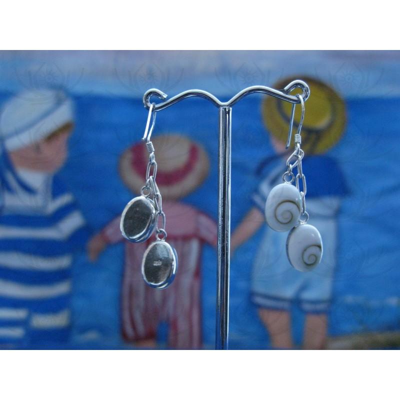LE 0189 Earrings Shiva Eye Shell Silver