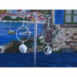 LE 0191 Earrings Shiva Eye Shell Silver